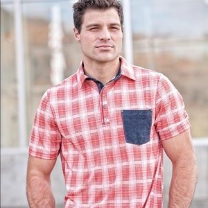 QED Style Red Plaid Sandy Polo